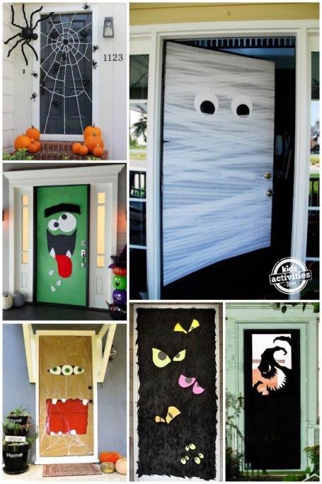 decoração de porta para halloween