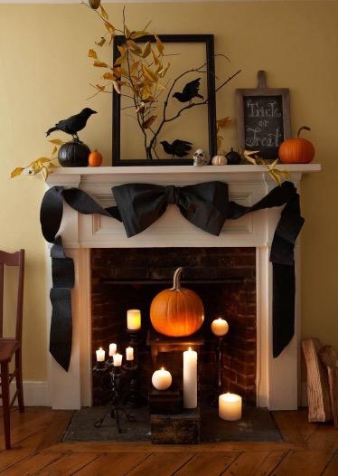 decoração em chaminé para halloween