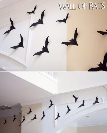 morcegos de papel para decoração de halloween