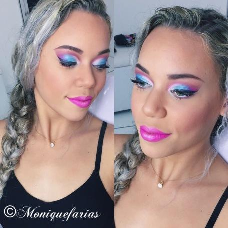 Maquiagem azul e rosa